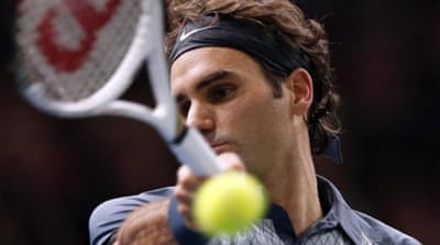 Playing it cool: Federer looked back to somewhere near his effortless best against Del Potro in Paris [AP]