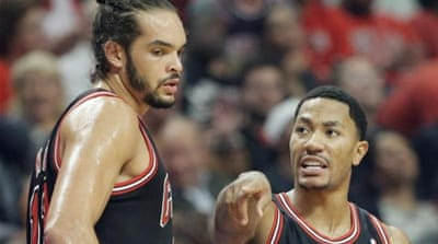 On point: Derrick Rose led the way to victory on his home-court return [AP]