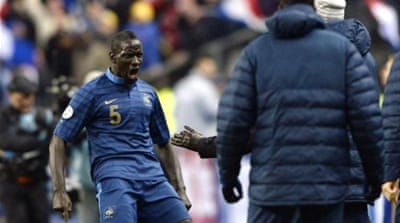 Sakho opened the scoring for France and pressured the Ukraine defence for the decisive third [AFP]