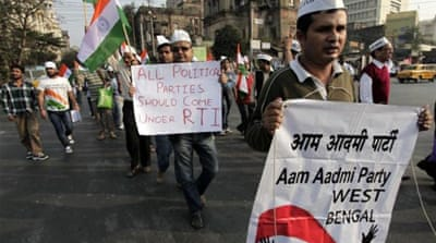 The Aam Admi Party was born out of the anti-corruption movement few years ago [AP]