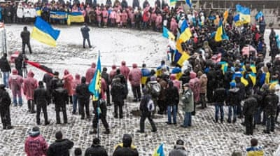 Several hundred demonstrators manned a protest camp on Independence Square in Kiev on Friday [Getty]
