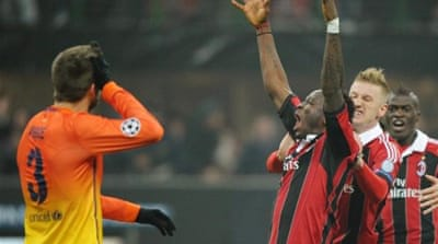 Sulley Muntari (2nd R) adds a second after Kevin-Prince Boateng opened the scoring for Milan [EPA]