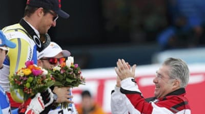 Svindal celebrates his fifth world champion title after a great downhill run in Schladming, Austria [AFP]
