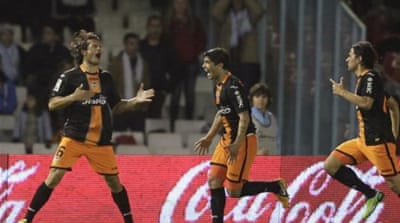 Valdez celebrates winning goal against Celta Vigo in third minute of added time [Reuters]
