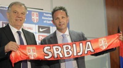 Croatia boss Igor Stimac (R) appeals for fans to be powered by love not hatred against Serbia [EPA]