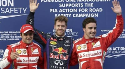 Sebastian Vettel is back on the top spot after being helped by weather conditions in Malaysia [AP]
