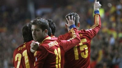 Spain's Cazorla (C) is confident ahead of big clash although admits team needs more variation [EPA]
