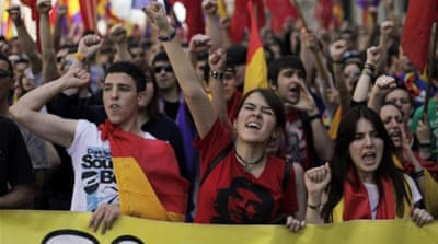 Thousands marched through central Madrid to protest the increasingly unpopular King Juan Carlos [EPA]
