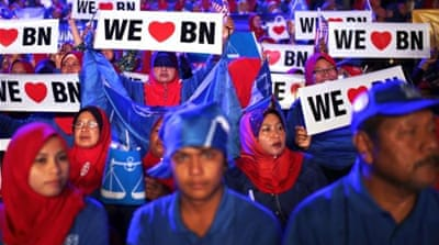 Prime Minister Najib Razak has run a populist campaign rallying support in malls, mosques and car parks [AFP]