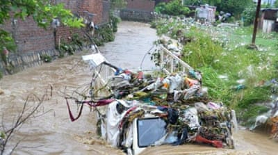 Heavy rains damaged roads and created landslides in the Indian state of Uttarakhand over the weekend [AFP]
