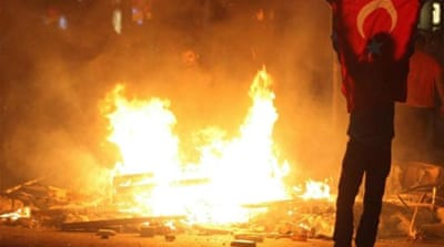 Turkey's Prime Minister Recep Tayyip Erdogan has blamed opposition parties for the protests [Reuters]