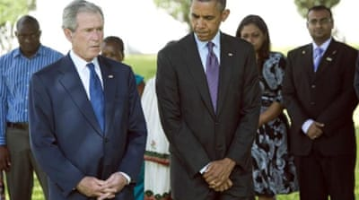 Obama (right) and Bush attended a ceremony at the new US embassy compound [AFP]