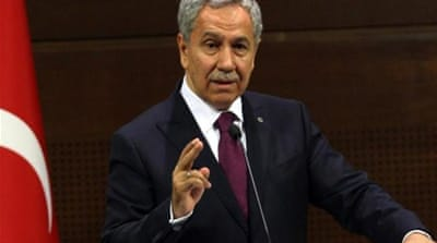 Bulent Arinc did not spell out what Turkey would do prevent any such entity from coming about [AFP]