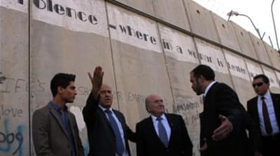 Blatter visits West Bank after FIFA Congress was called to improve state of the game in Palestine [EPA]