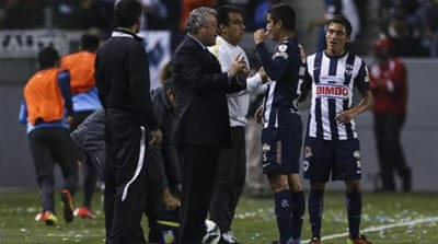 Coach of Monterrey, Victor Vucetich, has been banned for two matches after ungentlemanly conduct [AFP]