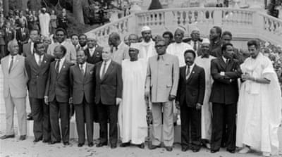 French and African heads of state pose during the 10th Franco African summit in October 1983 in Vittel, France [AFP]