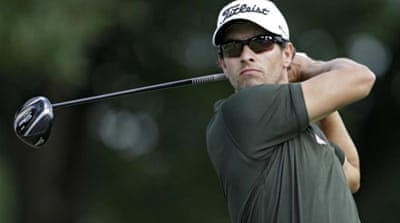 Here Adam Scott celebrates his first triumph of the season but can he master another major? [AP]
