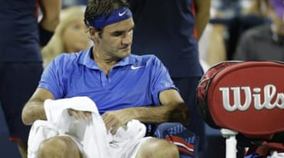 Early doors: This is the first year since 2002 that Federer has not made a Grand Slam final [AP]