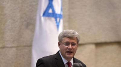 Canadian Prime Minister Stephen Harper speaks at the Knesset, Israel's Parliament in Jerusalem. [AP]