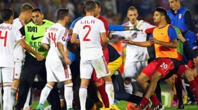 Serbia accuses Albania after flag brawl