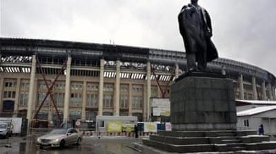 A statue of late Soviet leader Lenin stands in front of Luzhniki football stadium in Moscow [AFP]