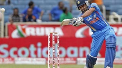 Sharma hit 33 fours - a world record - and nine sixes in his innings [AP]