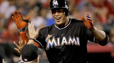 Stanton's season ended prematurely after he was hit by a pitch in the face [AP]