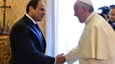 Egypt's leader is also expected to meet Italian prime minister later on Monday [AFP]