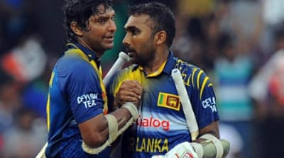 Jayawardene and Sangakkara (L) put on 149 for the third wicket [AFP]