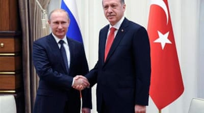 Turkey and Russia have set an aim of increasing their two-way trade volume from $33bn to $100bn by 2020 [AFP]