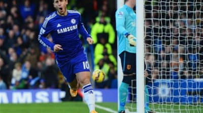 Hazard scored the opening goal and had an assist in the second for Chelsea [Getty Images]