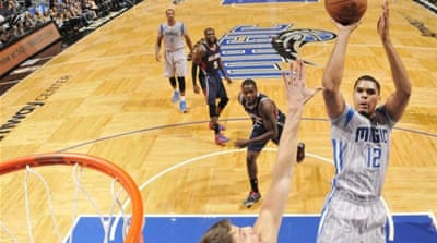 Harris (#12) scored the late points that won the game for the Orlando Magic [Getty Images]
