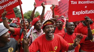 The metal workers' union, NUMSA, recently broke ranks with the ANC, writes Hickel [Reuters]
