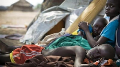 Children displaced by fighting in Bor [EPA]