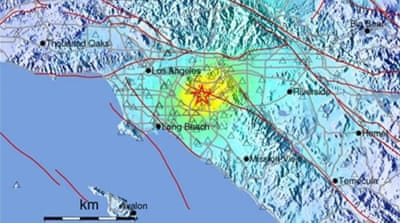 The quake was felt as far south as San Diego and as far north as Ventura County [EPA]