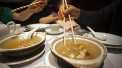 Shark fin soup sales plunge in China