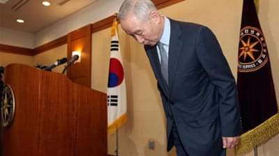 Nam Jae-joon, Director of the South Korean Intelligence Service, apologises to the nation for his agency's apparent fabrication of evidence in an espionage case [EPA]