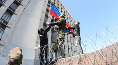 Pro-Russian activists declared the so-called 'Donetsk People's Republic' on April 7 [AFP/Getty Images]