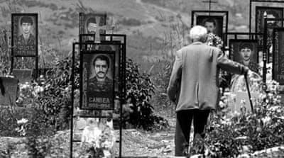 Tombstones of Karabakh soldiers, killed during fighting between Karabakh and Azerbaijan forces in 1993 [Reuters]