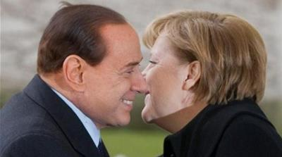 """More Italy, Less Germany"" is the EU election slogan of Berlusconi's Forza Italia [AP]"