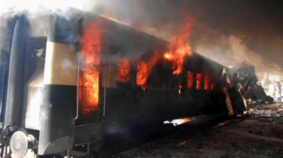 A bomb blast targeted a passenger train in Sibi district of Balochistan province, Pakistan [EPA]