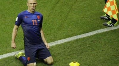 Robben scored two goals, both with his left foot [AP]