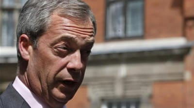 Nigel Farage has snared the minimum seven-nation representation UKIP needs for parliamentary recognition [AP]