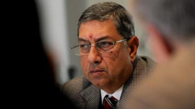 Srinivasan has been barred as BCCI chief by the court as the IPL investigations continue [AFP]