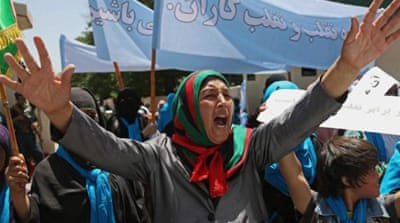 Abdullah supporters also protested outside the UN office in Herat on Thursday [AP]