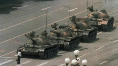 The author, reporting from Tiananmen Square in 1989 [Al Jazeera]