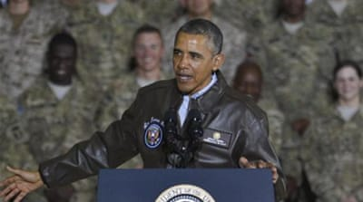 US President Barack Obama speaking during a visit to US soldiers at Bagram Air Field, Afghanistan [EPA]