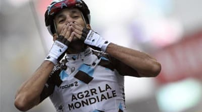 Contador lost over two minutes to Kadri (pictured) on the stage [AFP]