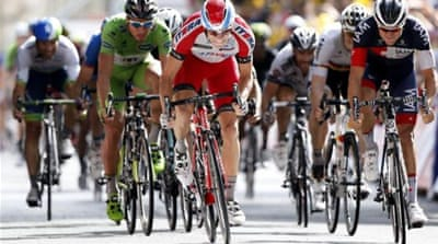 A sprint 50 metres from the finish line saw Kristoff (C) win the stage [EPA]