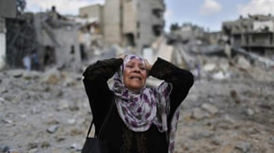 Over 200,000 Palestinians have been displaced in Gaza since the start of the Israeli assault [Reuters]